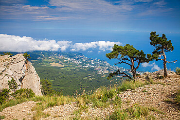 Ukraine, Crimea, View of Yalta coastline from Al Petri Mountain