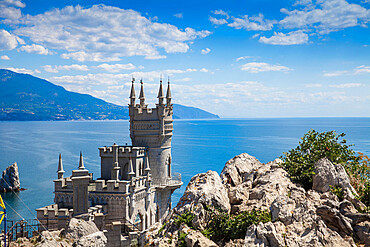 Ukraine, Crimea, Yalta, The Swallow's Nest castle perched on Aurora Clff