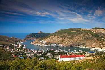 Ukraine, Crimea, Balaklava, View of Balaklava Bay
