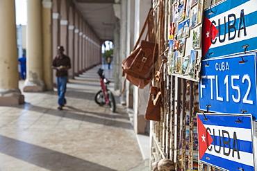 Columns on shops opposite Parque Marta, Cienfuegos, Cienfuegos Province, Cuba, West Indies, Caribbean, Central America