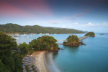 View of harbour, the famous Los Puentes (Bridges to Nowhere) and Playa Cayacoa, Samana, Eastern Peninsula de Samana, Dominican Republic, West Indies, Caribbean, Central America
