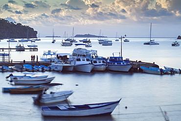 View of harbour at dawn, Samana, Eastern Peninsula de Samana, Dominican Republic, West Indies, Caribbean, Central America