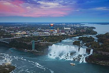 View of Rainbow Bridge and The American Falls, Niagara Falls, Niagara, border of New York State, and Ontario Canada, North America
