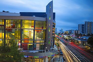 View of Lincoln Regal cinemas and Alton Road, South Beach, Miami Beach, Florida, United States of America, North America