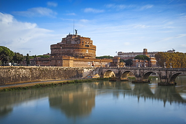 View of St. Angelo bridge over the River Tiber, and Castle St. Angelo (Hadrian's Mausoleum), Rome, Lazio, Italy, Europe
