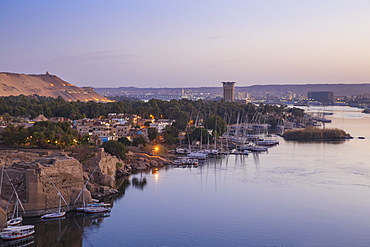 View of Movenpick Resort and River Nile, Aswan, Upper Egypt, Egypt, North Africa, Africa