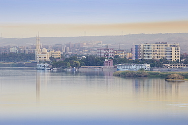 View of Aswan and River Nile, Aswan, Upper Egypt, Egypt, North Africa, Africa