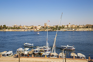 View of River Nile and Luxor Temple, Luxor, Egypt, North Africa, Africa