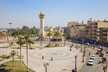 View of central square opposite Luxor temple, looking towards Ahmad Najam Mosque, Luxor, Egypt, North Africa, Africa