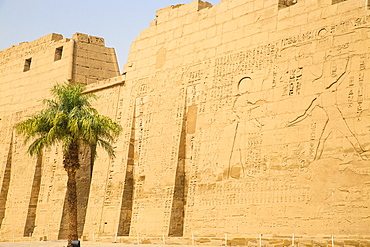 Pylon I, Temple of Ramesses III at Medinet Habu, West Bank, UNESCO World Heritage Site, Luxor, Egypt, North Africa, Africa