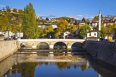 View towards Sehercehaja bridge, Sarajevo, Bosnia and Herzegovina, Europe