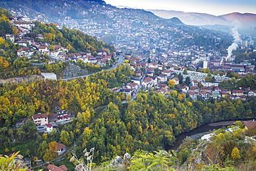 View of Alifakovac graveyard, where Muslim foreigners are buried, and City, Sarajevo, Bosnia and Herzegovina, Europe