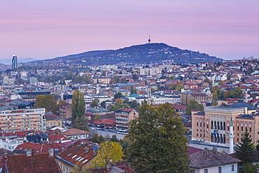 View of City looking towards City Hall, Sarajevo, Bosnia and Herzegovina, Europe