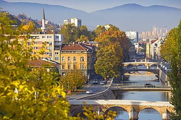 View of city and Miljacka River, Sarajevo, Bosnia and Herzegovina, Europe