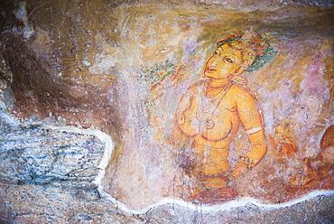 Apsara Frescoes on Mirror Wall at Sigiriya Rock Fortress, UNESCO World Heritage Site, Sri Lanka, Asia