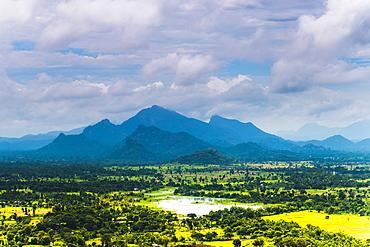 Sri Lanka landscape, taken from the top of Sigiriya Rock Fortress (Lion Rock), Sigiriya, Sri Lanka, Asia