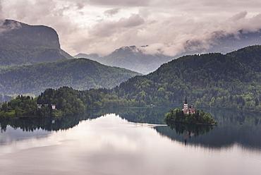 View of Lake Bled from Lake Bled Castle, Bled, Julian Alps, Gorenjska, Upper Carniola Region, Slovenia, Europe