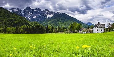 House below the Juilan Alps just outside Kranjska Gora, Triglav National Park, Upper Carniola, Slovenia, Europe