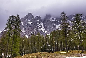 Juilan Alps, seen on the Vrsiska Cesta (road) (Vrsic Pass) near Kranjska Gora in the Triglav National Park, Slovenia, Europe