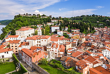 Piran and Piran Town Walls, seen from Church of St. George, Piran, Primorska, Slovenian Istria, Slovenia, Europe
