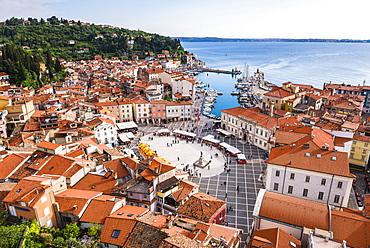 Piran and Tartini Square, seen from Church of St. George, Piran, Primorska, Slovenian Istria, Slovenia, Europe