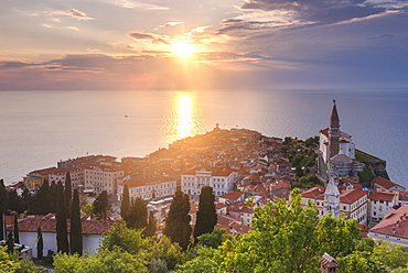 Piran at sunset, and the Mediterranean Sea, seen from Piran Town Walls, Piran, Primorska, Slovenian Istria, Slovenia, Europe