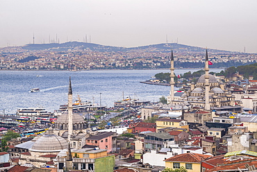 Rustem Pasha Mosque and New Mosque (Yeni Cami) with Bosphorus Strait behind, Istanbul, Turkey, Europe