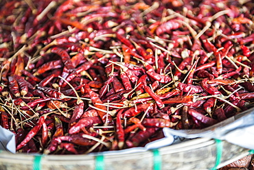 Chillies for sale at Hsipaw (Thibaw) market, Shan State, Myanmar (Burma), Asia
