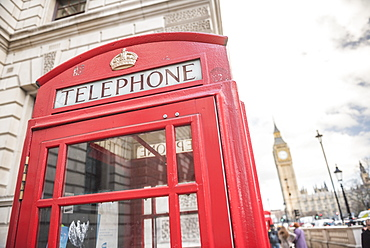 Red Telephone Box and Big Ben (Elizabeth Tower), Houses of Parliament, Westminster, London, England, United Kingdom, Europe