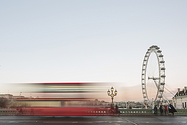 The London Eye, with red London bus on Westminster Bridge at sunset, South Bank, London, England, United Kingdom, Europe - 1109-2632