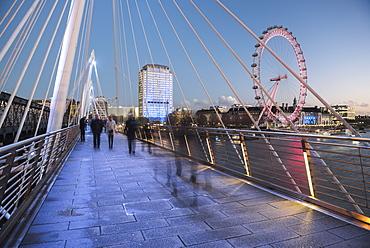 The London Eye, seen from Golden Jubilee Bridge at night, London, England, United Kingdom, Europe