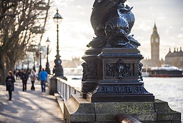 Dolphin lamp post, South Bank, London, England, United Kingdom, Europe