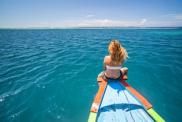 Woman on a traditional Indonesian boat rrip to Marak Island near Padang in West Sumatra, Indonesia, Southeast Asia, Asia