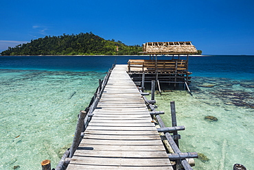 Pier at Twin Beach, a tropical white sand beach near Padang in West Sumatra, Indonesia, Southeast Asia, Asia