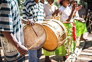 Drums and traditional music at Ambohimahasoa, Haute Matsiatra Region, Madagascar Central Highlands, Madagascar, Africa