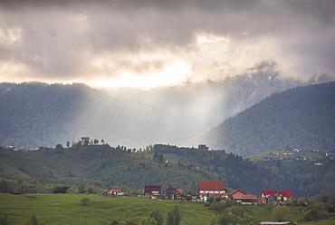 Romanian landscape in the Carpathian Mountains near Bran Castle at Pestera, Transylvania, Romania, Europe