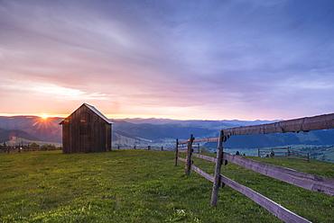 Bukovina Region (Bucovina) landscape at sunrise, Paltinu, Romania, Europe