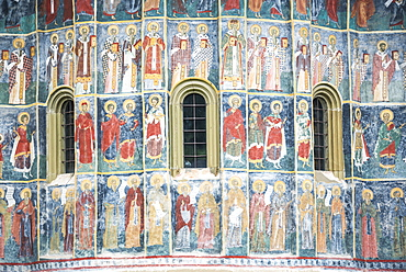 Painted murals at Sucevita Monastery, a Gothic church, one of the Painted Churches of Northern Moldavia, UNESCO World Heritage Site, Bukovina, Romania, Europe
