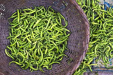 Green chillies in Hpa An Morning Market, Kayin State (Karen State), Myanmar (Burma), Asia