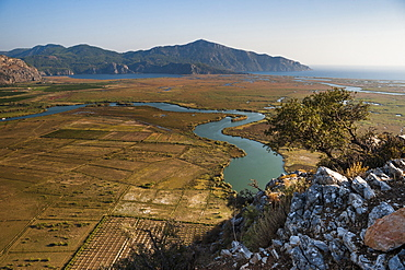 View over the Dalyan River from the ancient ruins of Kaunos, Dalyan, Mugla Province, Anatolia, Turkey, Asia Minor, Eurasia