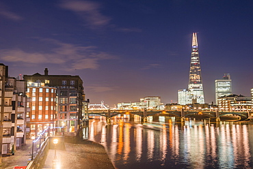 The Shard and the River Thames at night, London Borough of Southwark, London, England, United Kingdom, Europe