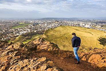 Walking on Arthur's Seat, Edinburgh, Scotland, United Kingdom, Europe