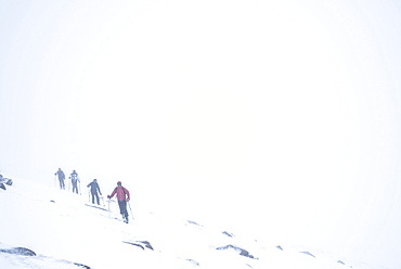 Ski touring in a snow blizzard white out at CairnGorm Mountain Ski Resort, Cairngorms National Park, Scotland, United Kingdom, Europe