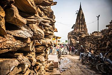 Wood for cremation at the burning ghats, Varanasi, Uttar Pradesh, India, Asia