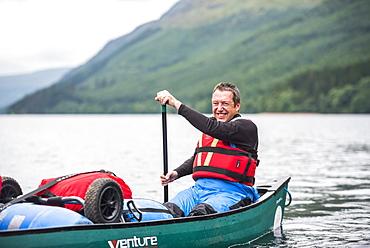 Canoeing the Caledonian Canal, near Fort William, Scottish Highlands, Scotland, United Kingdom, Europe