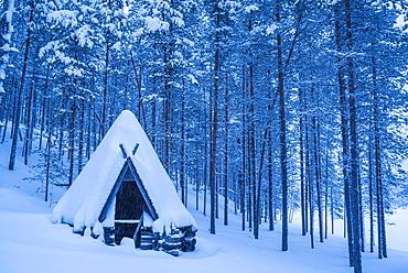 Kota, a traditional Lapland shelter, Pallas-Yllastunturi National Park, Lapland, Finland, Europe