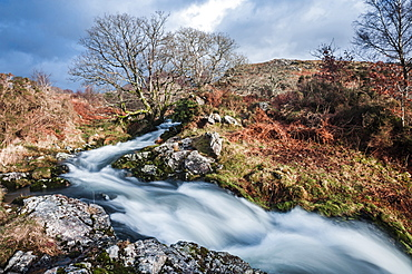 River in the foothills of Cnicht, Croesor Valley, Snowdonia National Park, Gwynedd, North Wales, Wales, United Kingdom, Europe