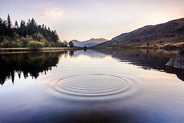 Llynnau Mymbyr Lake at sunset, Capel Curig, Snowdonia National Park, North Wales, United Kingdom, Europe - 1109-3298