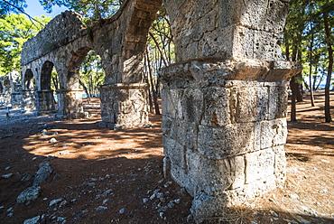 Ruins of Phaselis near Kemer, Antalya Province, Lycia, Anatolia Peninsula, Mediterranean Coast, Turkey, Asia Minor, Eurasia