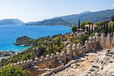 View from Simena Castle over Kekova Bay and Island, Antalya Province, Lycia, Anatolia, Mediterranean Sea, Turkey, Asia Minor, Eurasia